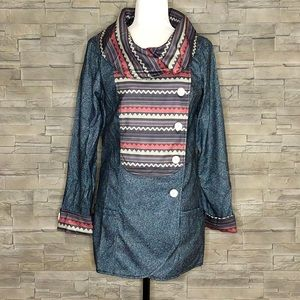 Misslook blue and multi asymmetrical cardigan